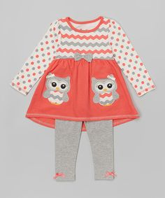Baby Girl Stuff: Nannette Girl Orange Owl Tunic & Leggings - Toddle...