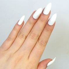 Doobys Stiletto - Bright White - 24 Hand Painted Stiletto Claw Point False Nails