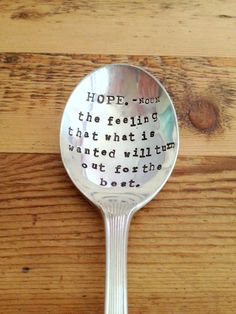 The Dictionary Spoon Hand Stamped  by ForSuchATimeDesigns