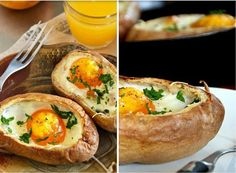 baked potato and eggs