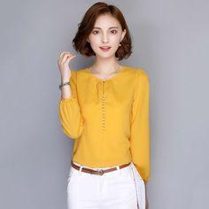 Plus Size Women Blouses 2016 Long Sleeve Autumn Chiffon Blouse Shirt Korean Casual Loose Elegant Ladies Blusas Tops White Pink Korean Casual, Korean Style, Shirt Blouses, Shirts, Blouses 2017, Lace Blouses, Blouse Styles, Plus Size Outfits, Blouses For Women