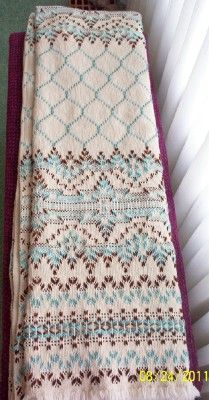 "Swedish Weaving Club - The pattern is called ""Crystalline"" which can be found in Marilyn Magly's ""Diamond Monk's Cloth Afghans"""