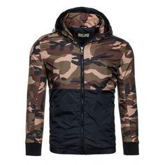 Přechodná pánská bunda v černé barvě se vzorem maskáčů - manozo.cz Rain Jacket, Windbreaker, Jackets, Fashion, Dark Eye Circles, Colors, Moda, Fashion Styles