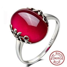 Very Elegant  Solid 925 Sterling Silver Natural Red Jade Ruby Fine Fashion…