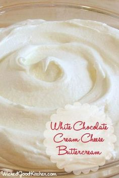White Chocolate Cream Cheese Buttercream by WickedGoodKitchen. ~ Ivory buttercream made with white chocolate, cream cheese, butter and lemon juice. Perfect for frosting cheesecakes! Frosting Recipes, Cupcake Recipes, Baking Recipes, Dessert Recipes, Cupcake Creme, Deco Cupcake, Dessert Aux Fruits, Cake Icing, Buttercream Icing
