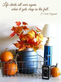 A fall quote plus an easy fall vignette with a vintage Thermos jug, dollar store leaf stems and pumpkins.  via houseofhawthornes.com