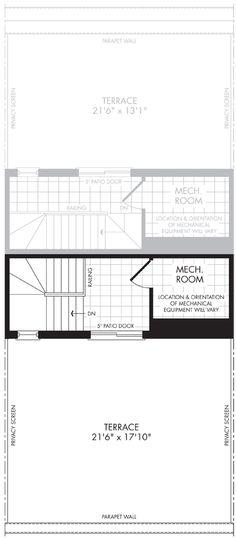 The floor plan of Interior Terrace. Design: Jo-Ann Capelaci Builder: Geranium Homes Price Plan, The Perfect Getaway, New Homes For Sale, Patio Doors, Rustic Chic, Geraniums, Home Builders, Rooftop, Terrace