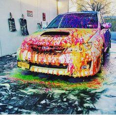 COLORFUL #subie #subaru #colorful #wash #car #carewash #hatchback #wrx #sti #2009wrx #2011wrx #racecar #drift #clean #cake