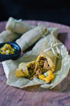 Pork Tamales with Prickly Pear & Tequila Salsa -- Not sure where to buy Prickly Pear ... but You had me at Tequila!