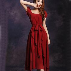 Cornelia Women's New Korean Chiffon Slim Irregular Short Sleeve Long Dress Dress – USD $ 15.99
