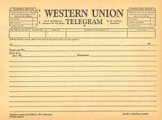 Western Union Telegram Template