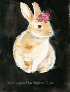 Bunny Art  Watercolor Painting Print  by DustyShamrockStudio, $18.00 - powder room over toilet - white mat with mirrored frame