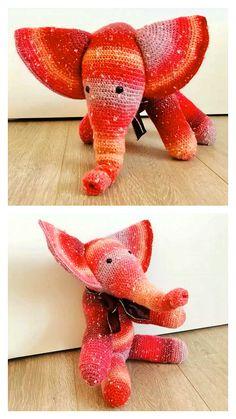 Free Crochet Elephant Pattern & many amigurumi elephant idea... Crochet Elephant Pattern, Crochet Motif, Free Crochet, Crochet Patterns, Step By Step Crochet, Learn To Crochet, Free Pattern, Dinosaur Stuffed Animal, Gautier