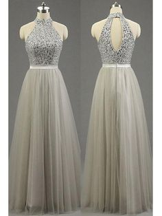Long Prom Dresses High Neck Floor-length Tulle Prom Dress/Evening Dress JKL272