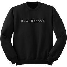 Twenty One Pilots Blurryface Band Shirt Tumblr Crew Neck Sweatshirt... ($24) ❤ liked on Polyvore featuring tops, hoodies, sweatshirts, black, women's clothing, woven shirt, long shirts, crew-neck sweatshirts, long tops and long line shirt