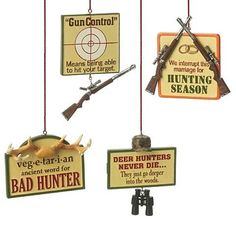 Midwest Funny Signs Hunting Christmas Ornaments