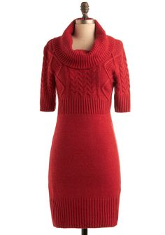 More sweater dress love. Not keen on these cables, but I like the cable-above-the-waist idea, as well as the cowl neck.