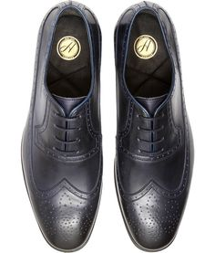 Men's Coen (Navy) Leather Long wing Brogue | H Shoes