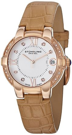 Stuhrling Original Women's 338LS.1245E2 Symphony Regent Countess 16k Rose Gold-Plated and Diamond Watch * You can get more details by clicking on the image.