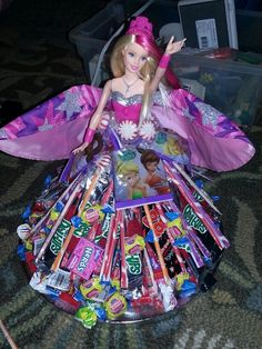 Barbie candy party display.