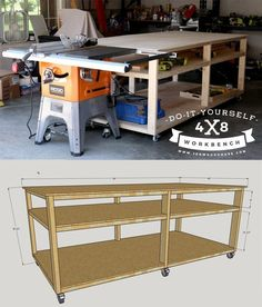How to build a DIY workbench - free plans and tutorial. Build it for about $100 in lumber! #diy #workbench #garage #organization #workshop #plans #tutorial #howto