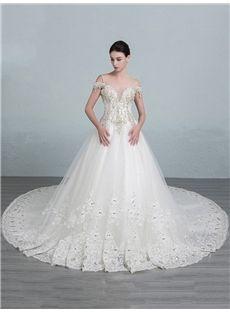 Sleeveless Lace Elegant & Luxurious Fall Appliques Lace-up Spaghetti Straps Glamorous & Dramatic Wedding Dress