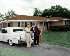 Vernon & Gladys with Elvis behind a cadillac Eldorado at 1034 Audubon Drive in Memphis