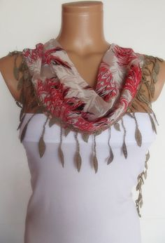 2012 summer fashion scarf with lace by smilingpoet on Etsy, $12.90