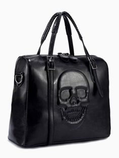 Embossed Skull Box Tote Bag In Black | Choies