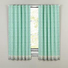 Sleep Tight Aqua and Grey Polka Dot Curtain Panels | The Land of Nod
