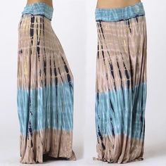 Bohemian Ocean Blue & Tan Boho Tie Dye Jersey Long Maxi Skirt Hippie Beach S M L #PrivateLabel #Maxi