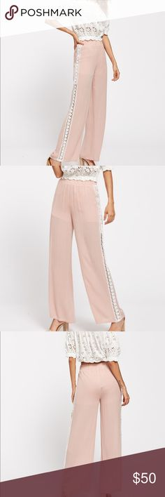 ❣️Wide leg pink pants w/lace insert Feminine and comfortable. Can be dressed up or down. Fabric has no stretch. Elastic waist. Measurements Waist:26.8-37.8inch,  Hip Size:39.4inch,  Length:41.7inch,  Thigh:24.8inch. Item#CYH1724616998N Pants Wide Leg