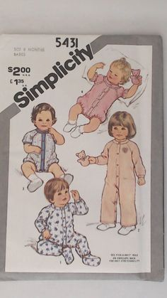 1981 Printed Sewing Pattern Simplicity 5431 jumpsuit - playsuit. onesie - Pj's with feet - snap front - size 6 months - Babies Boys Girls