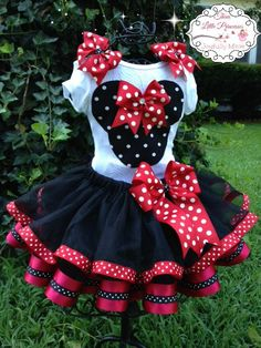 Deluxe Minnie Mouse Ribbon Tutu Outfit by joyfullymadeboutique Baby Tutu, Baby Dress, Tutu Outfits, Kids Outfits, Little Girl Dresses, Girls Dresses, Ribbon Tutu, Costume, Schneider