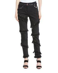 Diagonal-Fringe+Slim+Straight-Leg+Jeans+by+Osman+London+at+Bergdorf+Goodman.