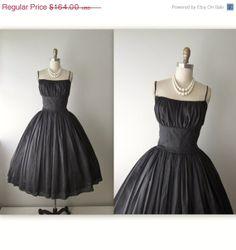 STOREWIDE SALE 50s Cocktail Dress // Vintage 1950's Black Chiffon Full Cocktail Party Circle Dress XS