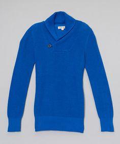 Look at this #zulilyfind! Cobalt Shawl-Collar Sweater - Boys by Yoon #zulilyfinds