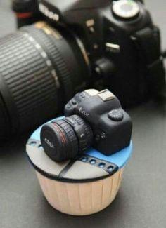 Cupcake de cámara fotigrafica