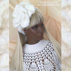 "Купить Повязка на голову ""White Rose"" от Olga Lace - повязка на голову, Вязаная повязка"