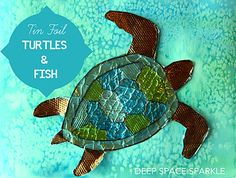 Foil Turtle and Fish Collage