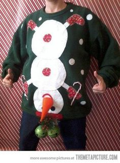 Super tasteless ugly Christmas sweater.  I know someone who would wear this.