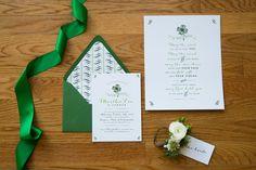 Emerald green bridal shower stationery | http://mytrueblu.com/2016/03/24/lucky-in-love-bridal-shower/