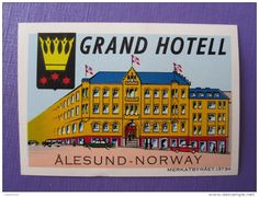 HOTEL HOTELLI HOTELL HOTELLET MINI GRAND ALESUND OSLO NORVEGE NORWAY NORGE DECAL…