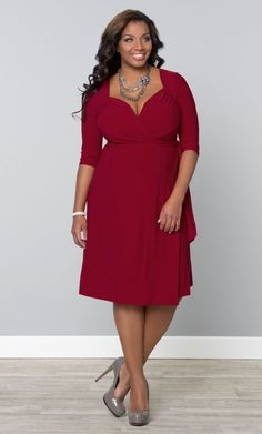 1950s Plus Size Dresses, Clothing | Pinup Fashion Sweetheart Knit Wrap Dress Red