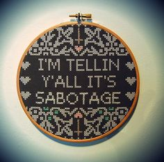 Image of Beastie Boys 'Sabotage' embroidery hoop by Kate Blandford