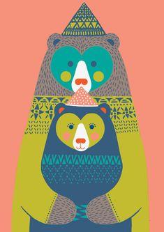 Papa Bear by Katleuzinger Illustration Sketches, Graphic Design Illustration, Illustrations Posters, Poster Prints, Art Prints, Bear Art, Typography Prints, Art Wall Kids, Pictures To Paint