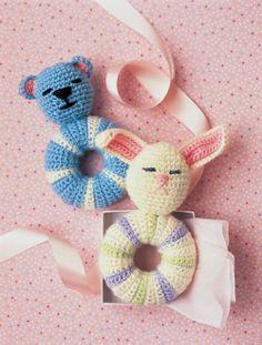 crochet bunny & bear baby rattles