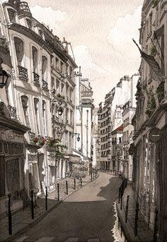 Paul Maddona - Le Marais, Paris - such beautiful line and wash work