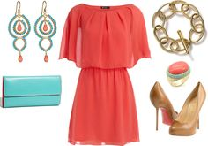 """""""Coral Turquoise Cocktail"""" by ggdesigns on Polyvore"""