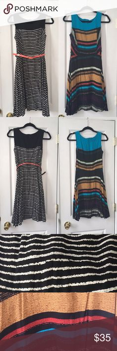 Bundle of two AB Studio fit and flare dresses Two AB Studio printed fit and flare dresses one in black and white stripe print and one in multicolored stripe print. Both came with belts, multicolored dress is missing it's belt. Selling as is. Dress looks great with or without belt and belt loops at the waist can be cut off if desired. Lightweight and great for a business casual wardrobe. Both 100% rayon. Pre loved in excellent condition. Dresses are 36 inches in length from shoulder to hem…